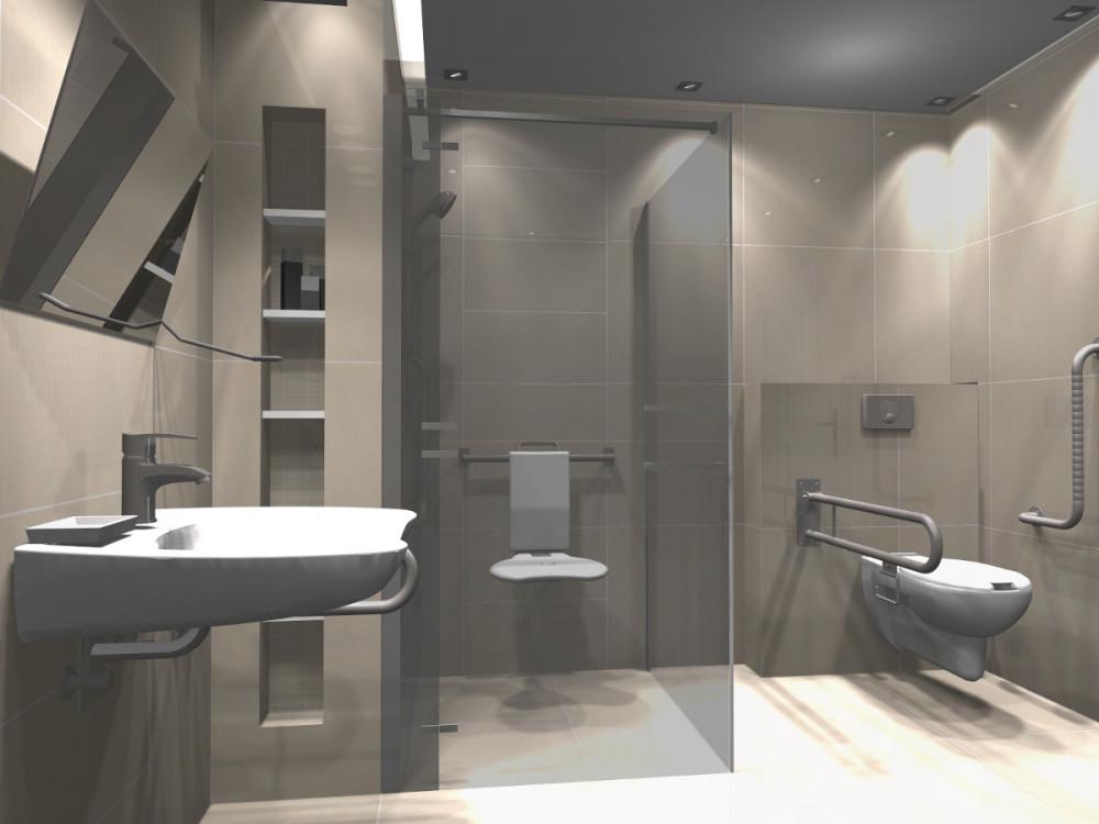 10_KSldn, łazienka dla niepełnosprawnych, łazienka bez barier, projekt łazienki dla niepełnosprawnych