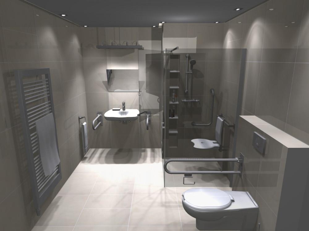 17_KSldn, łazienka dla niepełnosprawnych, łazienka bez barier, projekt łazienki dla niepełnosprawnych