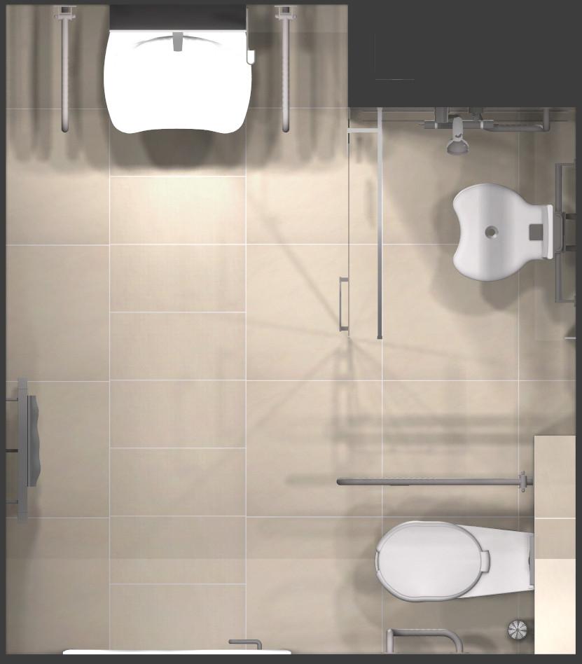 1_KSldn, łazienka dla niepełnosprawnych, łazienka bez barier, projekt łazienki dla niepełnosprawnych