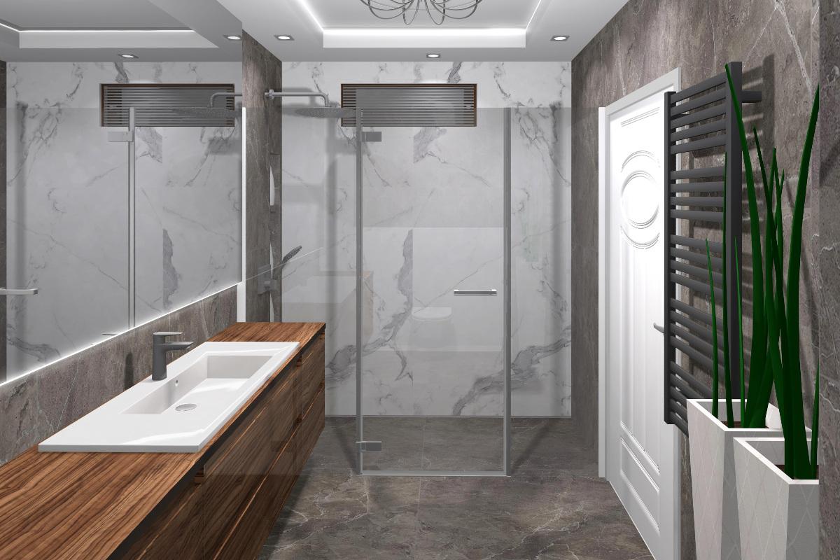 projekt łazienki, wyposażenie łazienki, aranżacja łazienki, gres Tubądzin, gres Mulina oraz Pietrasanta