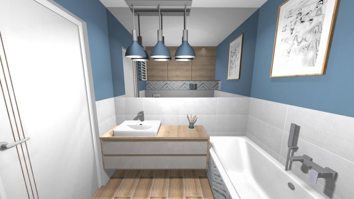projekt łazienki, wyposażenie łazienki, aranżacja łazienki, niebieski wzór, mała przestronna