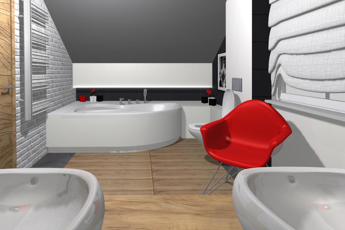 projekt łazienki, wyposażenie łazienki, aranżacja łazienki, black, red, white