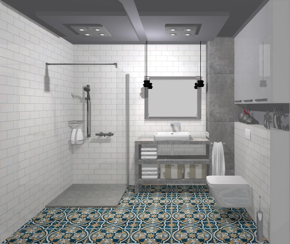 projekt łazienki, wyposażenie łazienki, aranżacja łazienki, cementowe płytki, nasycone barwy